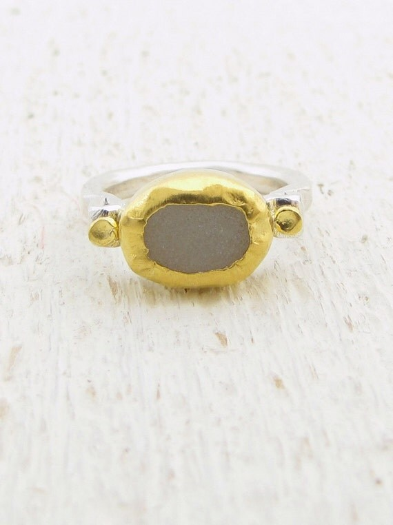 Druzy  Ring, 24k Gold & Sterling Silver Ring, Engagement Ring, Gemstone Ring