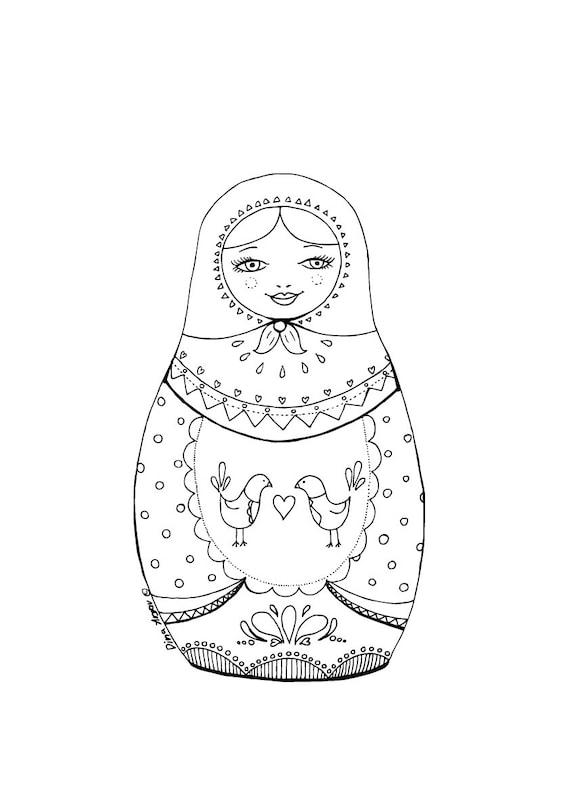 Printable Coloring Page Pdf Matryoshka Illustration By
