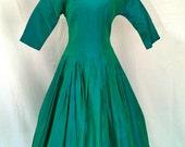 1950s Mediterranean Green Iridescent Taffeta Dress