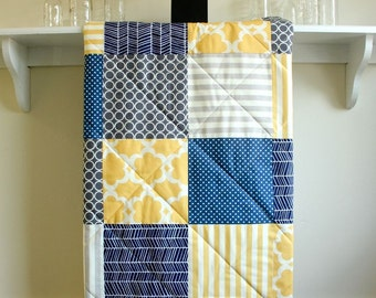 Baby Quilt Boy -  Navy, Grey, and Yellow - Gender Neutral, Crib Quilt - Flannel or Minky Back - Toddler Quilt, Boy Quilt, Nursery Bedding,