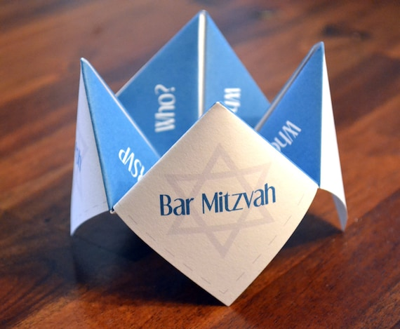 Bar Mitzvah, Bat Mitzvah, Invitation, Favor, Birthday, Party, DIY, Torah, Cootie Catcher, Religious, Star of David, Announcement