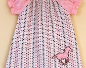 SALE. Baby Peasant Dress Pink western horse on polka dots Size 9 to 12 months