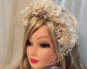 Ivory Bridal Headpiece, beaded wedding hat, vintage 20s upcycle, Victorian Noir accessory