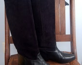Black Suede and Leather Riding Boot - Unisa - 80s