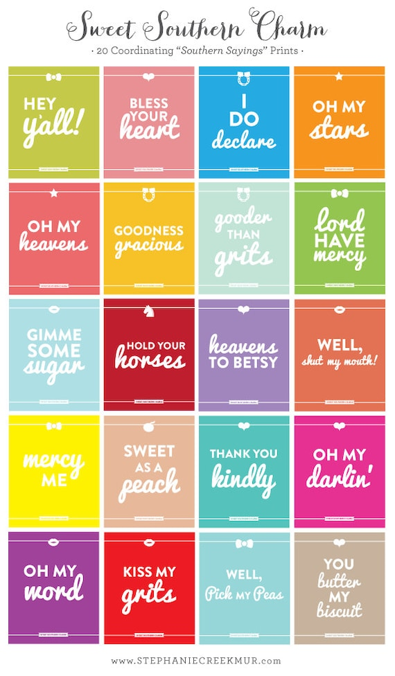 Southern Sayings Pick 3 8 X 10 Sweet Southern Charm Prints