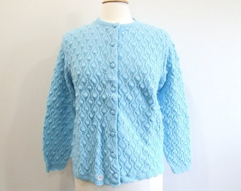 1960s Blue Cardigan Vintage 60s Sweater New Old Stock - M / L