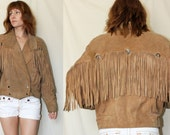 Vintage 70's Suede FRINGE JACKET Southwest Cropped Leather Coat Silver Conch