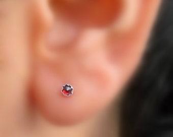 Stud Earrings - Sterling Silver 3mm Garnet Stud Earrings - 20 Gauge - ONE PAIR - Cartilage Earring - Cartilage Piercing