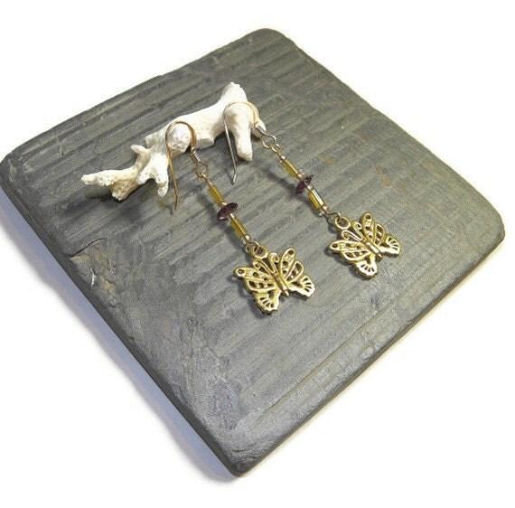 Mariposa Gold Earrings- Flying Flowers E115