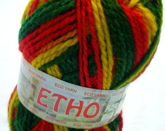 ethno wool multicolor yarn in red, green and yellow (308) DSH(P0)