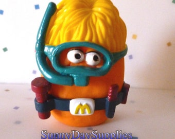 Vintage McDonald's Happy Meal Toys, McNugget Buddies, SNORKEL, Diver, Chicken McNuggets, 1988, Food Toys