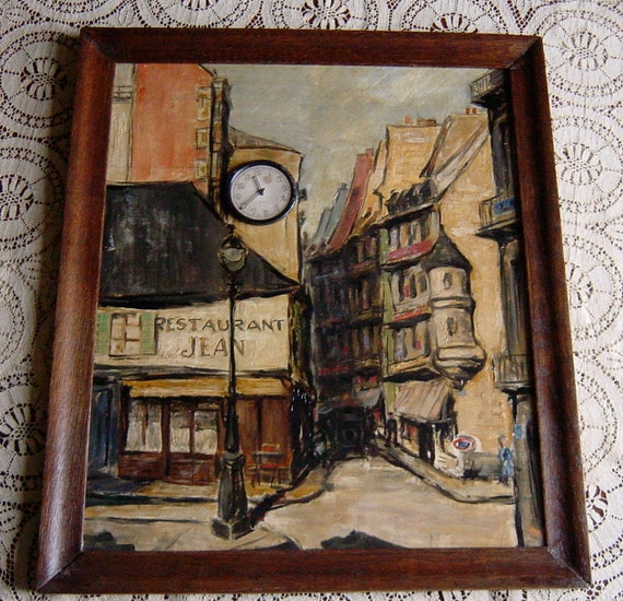 Antique French Painting Original Roy Ward Baker Oil Painting French Street Scene Famous Artist Collectable
