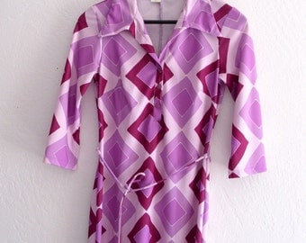 Vintage 1970's Radiant Orchid Geometric Jersey Dress Shirt Hippie Gypsy