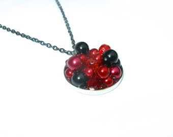 The Candy Necklace Black Cherry, red and black colored crystals and pearls pendant, geometric accessories, OOAK