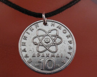 ATOMIC NECKLACE /  ATOM /  Greek coin jewelry. roman charm.. Democritus. mens jewelry. Physics pendant No.00221
