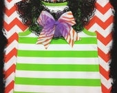 Girls Boutique Halloween Top Black Lace Collar Lime White Stripe Choice of Bow