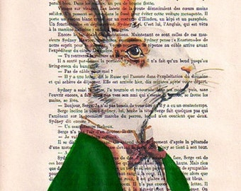 Drawing Illustration Giclee Prints Posters Mixed Media Art Acrylic Painting Holiday Decor Gifts:  Monsieur Rabbit