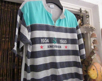 Men's Leisure T-Shirt Striped in Dark and Light Grey with Mint Green Touches, Vintage - XXLarge