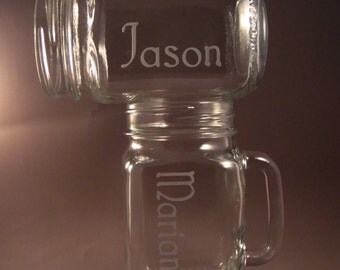 Etched Personalized Mason Jar Mugs- Rustic Redneck Wine Glass - Set of 4