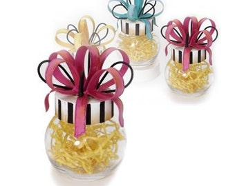 Wool Hearts Adorned In Glass Jars With Metal Ribbon - You Choose Colors