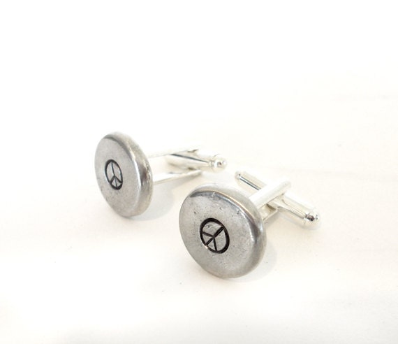 Peace Sign Cufflinks - hand stamped cuff links - unique mens gift, pewter pebble