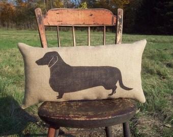 Dachshund Pillow - Dachshund Silhouette - Burlap Pillow - Dog Pillow - Lumbar Pillow - Dog Home Decor - Rustic Decor - Gift for Dog Lovers