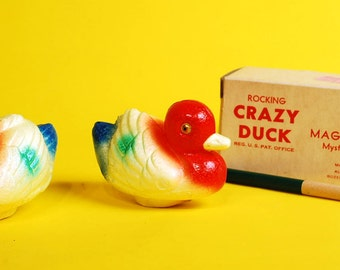 Vintage 1940s Rocking Crazy Duck with Magic Wand UNUSED in Box