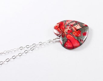 Stone heart jewelry red heart necklace, sterling silver gemstone heart necklace, anniversary gift