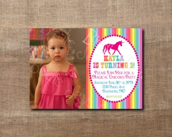 Photo Unicorn Birthday Party Custom Printable Invitation