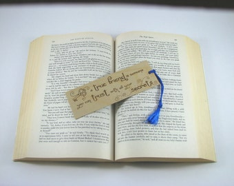 Friend Bookmark - Wood Pyrography - Friend Quote Wood Bookmark