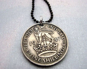 Lion necklace - Antique BRITISH SHILLING coin necklace - lion on crown - English crest - leo lion necklace - silver coin pendant
