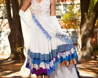 S. Past life as a mermaid, one of a kind upcycled wedding gown, hi lo hem, white blue purple. Size small through medium.