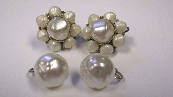 Vintage White Faux Pearl Non Pierced Earring Lot of two, Beaded Cluster & Baroque Pearl