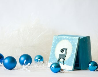 Christmas Jewelry box, Reindeer Moon Box, Treasury Box, Personalized Blue box, Turquoise Sagittarius Anniversary, Gift for her
