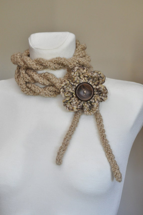Camel beige crochet infinity scart necklace with crochet flower