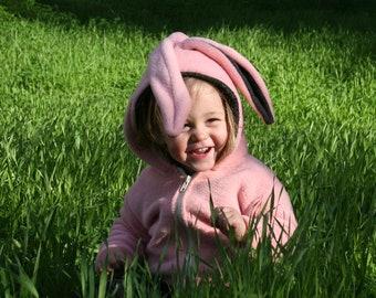 Pink Bunny Hoodie/ Easter Hoodie/ Kids Hoodie/ Girl's bunny Hoodie/ Easter Outfit/ Bunny ear Hoodie/ Bunny Jacket/Halloween Bunny costume