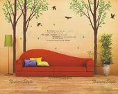 wall decal tree wall decal nursery wall decal baby wall decal birds nursery decal tree letters-3 Birch Tree with Flying Birds and Letters
