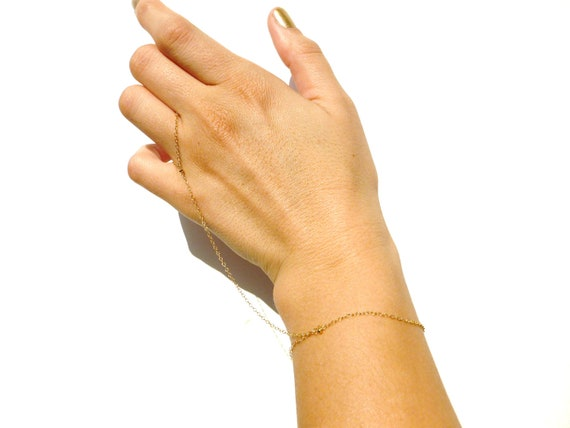 Gold Slave Bracelet - Gold Filled Chain - Simple Slave Bracelet, Hand Jewelry - Indian Hand Chain - Body Chain Jewelry // Wedding Gifts