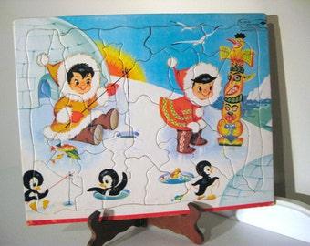 Vintage Puzzle - Eskimo - Penguin - Frame Tray - Built Rite - 1950's - Retro Toy Puzzle - Alaska