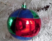 Poland Christmas Ornament Geometric Xtra Large Blown Glass Hand Painted