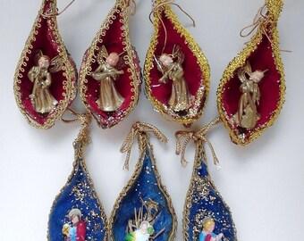 Folk Art Nativity Christmas Ornaments Diorama Display 7 Piece Scene FREE SHIPPIING - order 3 or more Christmas  listings