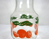 Vintage 1970's Anchor Hocking Glassware Juice Carafe With Orange And Green Leaf Print