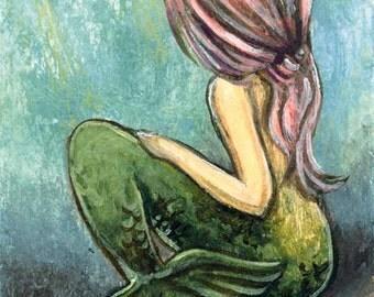 Mermaid Print, Fantasy Art, Pink Hair, Childrens Wall Art, Nautical Decor, Girls Nursery, Custom Print Size, Gift for Her, Under the Sea