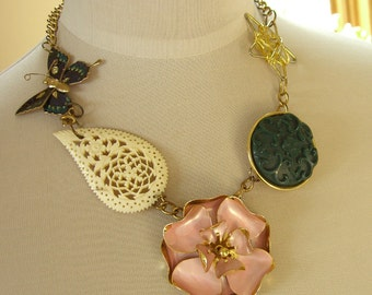 Vintage Upcycled Necklace, Bone, Enamel Butterfly, Metal Flower Charms, Retro Jewelry