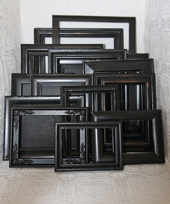 items similar to wall collage shabby chic black hand painted distressed frame set made to order on etsy