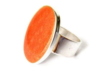 Statement Ring, Orange, Silver, Oval Ring, Cocktail Ring, Rings for Women, Adjustable, Resin Ring, Statement Jewelry, Big Ring, Orange Ring