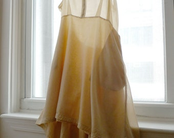 Silk and Cotton Hook & Eye Dress in Natural Ombre - Size Large