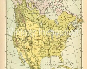 Vintage USA map,  QUALITY 1907 United States of America vegetation map
