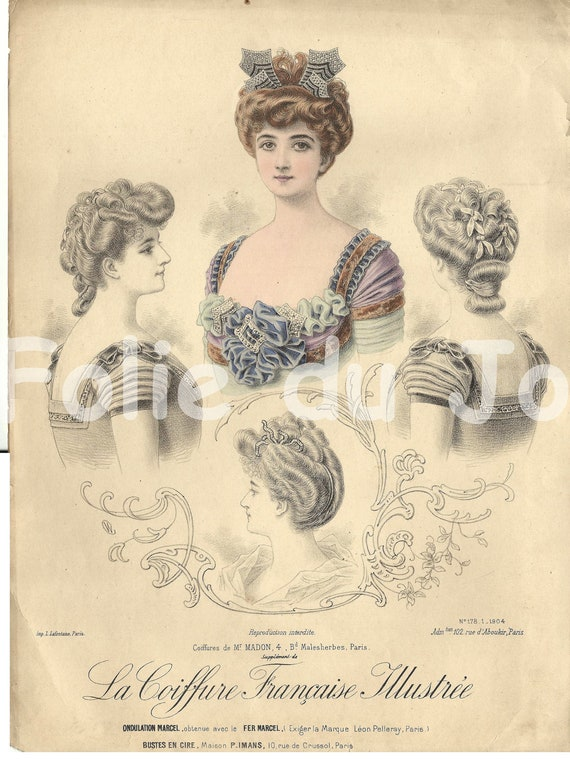 Antique French edwardian Belle Epoque hairstyles fashion plate 1900s ...