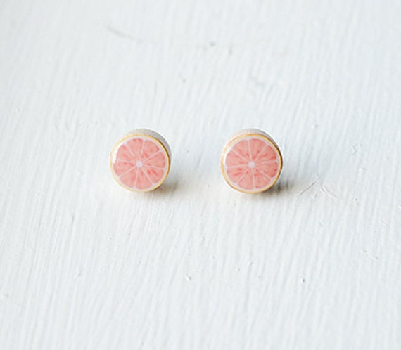 Citrus Fruit Earrings- Natural Wood Studs- Sliced Fruit- Orange, Grapefruit, Lemon, Lime- Green, Pink, Yellow